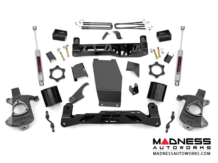 "Chevy Silverado 1500 4WD Suspension Lift Kit w/ N3 Shocks - 5"" Lift -  Aluminum Stamped Steel Control Arms"